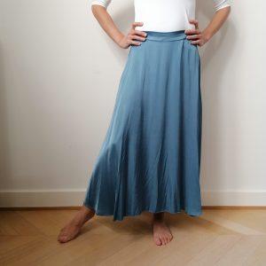 Terra di siena zijdelook lange rok Blauw